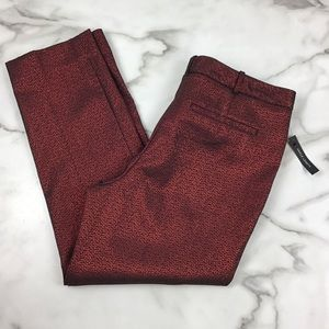Worthington Red Shimmer Ankle Pants Slim Fit